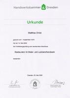 Urkunde Restaurator im Maler- und Lackiererhandwerk