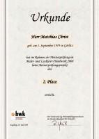 Urkunde 2. Platz Meisterprüfungsobjekt